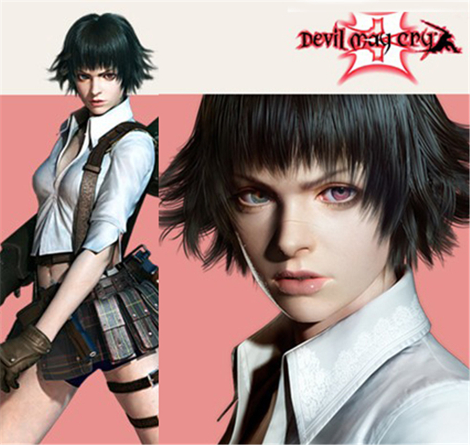 [COSME WIGS] Devil May Cry Lady High Quality Black Short Full Lace Cosplay Wigs Anime Devil May Cry Synthetic Natural Hair Wig