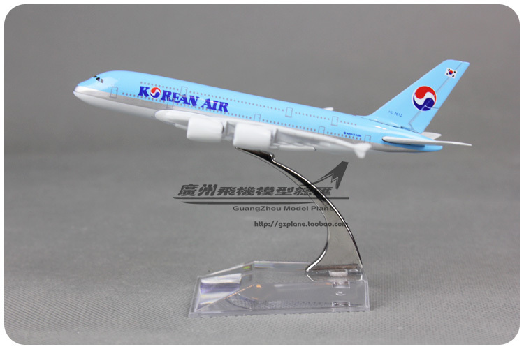 16cm KOREAN AIR Airbus A380 Airlines Alloy Airplane Model Airways Plane Model Diecast Souvenir Collections Free Shipping(China (Mainland))