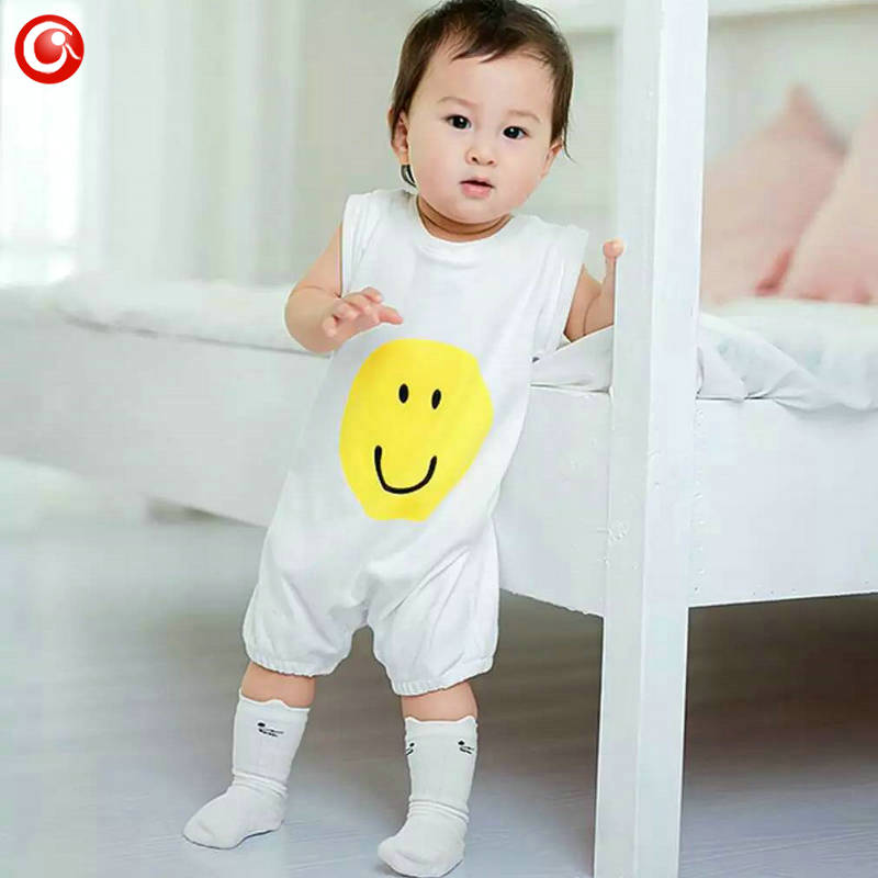 Baby Girls Rompers 2016 Summer Smile Printted Enfant Boys Onesie Bebes Newborn Baby Boy Clothes(China (Mainland))