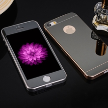Front + Back Mirror Colorful Plating Tempered Glass For iPhone 5 5s 5se2.5D Arc Explosion Proof Screen Protector with Logo Hole