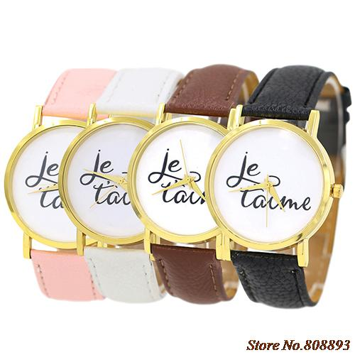 Newly Trendy Style Watch Womens Mens Je Taime Couple Lover Faux Leather Quartz Analog Wrist Watch<br><br>Aliexpress