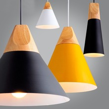 Modern Wood Pendant Lights Lamparas Colorful Aluminum lamp shade Luminaire Dining Room Lights Pendant Lamp For Home Lighting(China (Mainland))