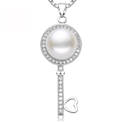 2016 Hot Sale Pearl Jewelry Natural Freshwater Pearl Key Statement Necklace Pendants 925 Sterling Silver Jewelry For Women Gift(China (Mainland))