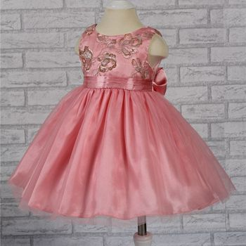 21802B Free shipping Cute Hot Pink Infant Dress 2015 new baby Girls Dress lace Top 1 Year baby girl birthday dress factory China