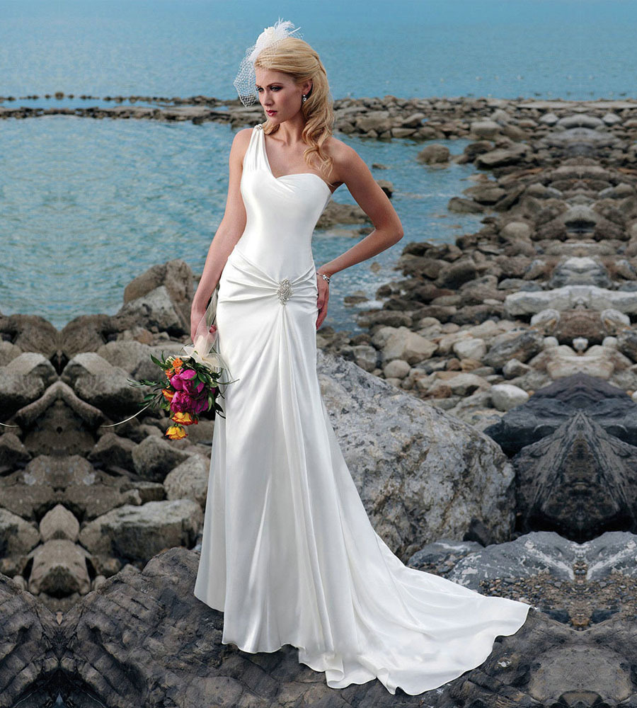 Custom made vestido de noiva elegant satin sleeveless one for Satin mermaid style wedding dresses