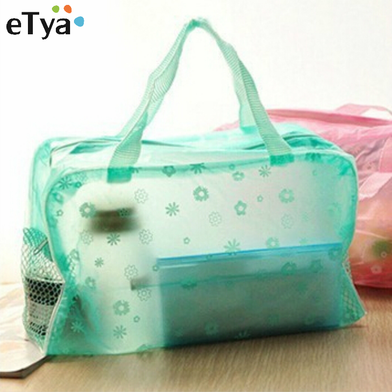 1Pcs Translucent Floral Travelling Bag Cosmetic Storage Bags For Towel Soap Washing Bath Products 5 Colors Available(China (Mainland))