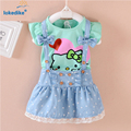 Hello Kitty Kids Girls Dress Toddler Girl clothes Summer Children clothing Set 2016 Toddler girl clothing