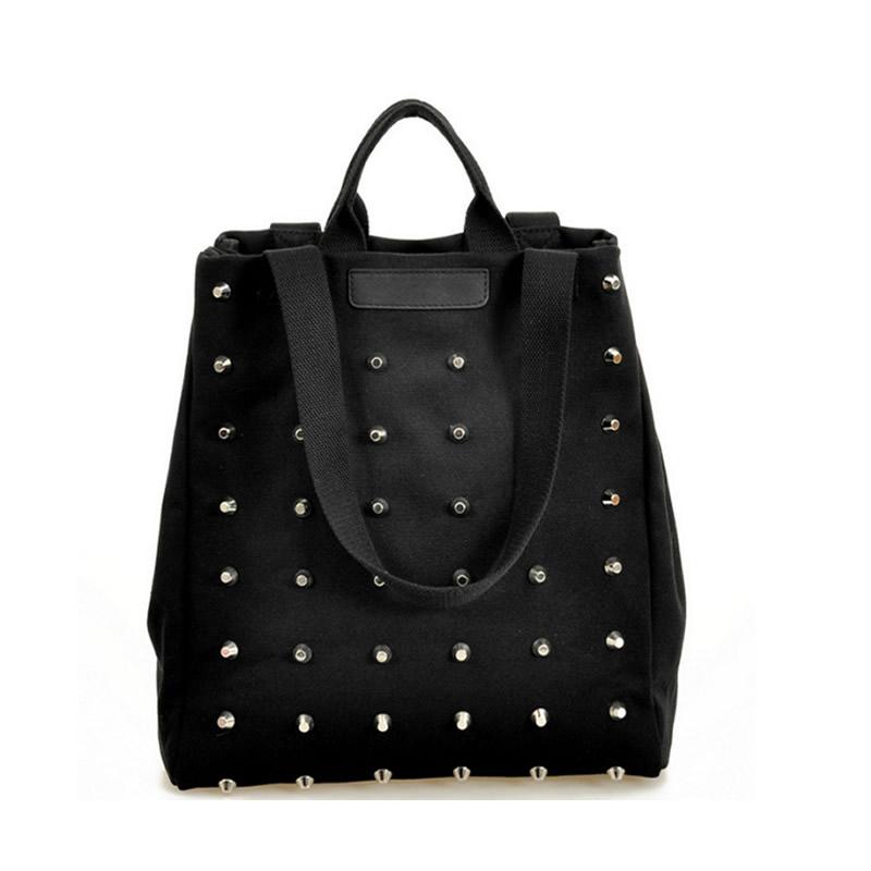 Fashion Unique Punk Rivet Canvas Women Top-Handle Bags Girl Handbags Tote Bags Ladies Shoulder Bag Black Shopper Bag Bolsas(China (Mainland))