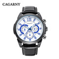 New fashion brand CAGARNY relogios mens watch casual leather quartz Wristwatches military watch montre homme