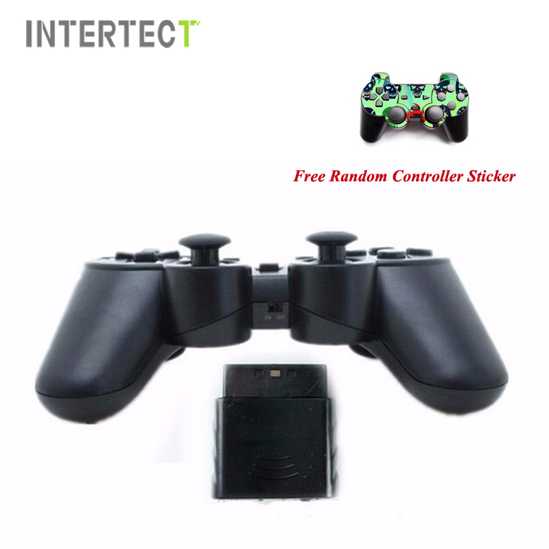 Black Wireless Game Controller For Sony PS2 Jogos Controle Wireless Double Vibration Joystick For Playstation 2 Gamepad Joystick(China (Mainland))