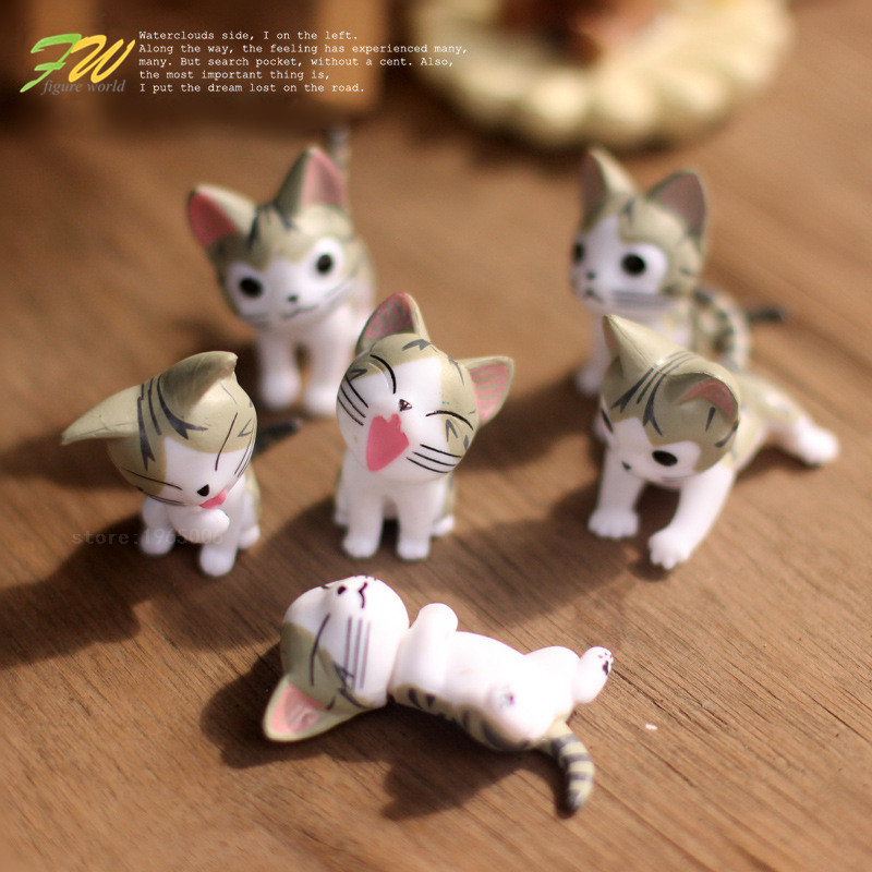 (6pcs/lot) Cheese cat miniature figurines toys cute lovely Model Kids Toys 4cm PVC japanese anime children figure world 151208(China (Mainland))