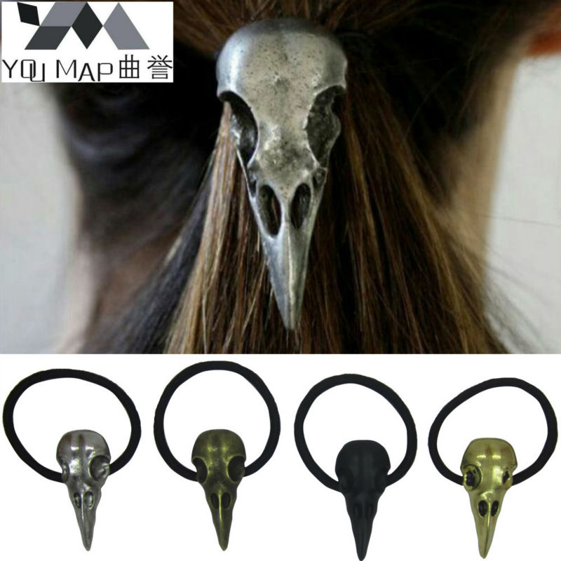 50x20mm Charm The Crow Skull Hair Accessories Vintage Antique Bronze Silver Birds Head Elastic Hair Bands Wholesale 12 pcs Y9R2C(China (Mainland))