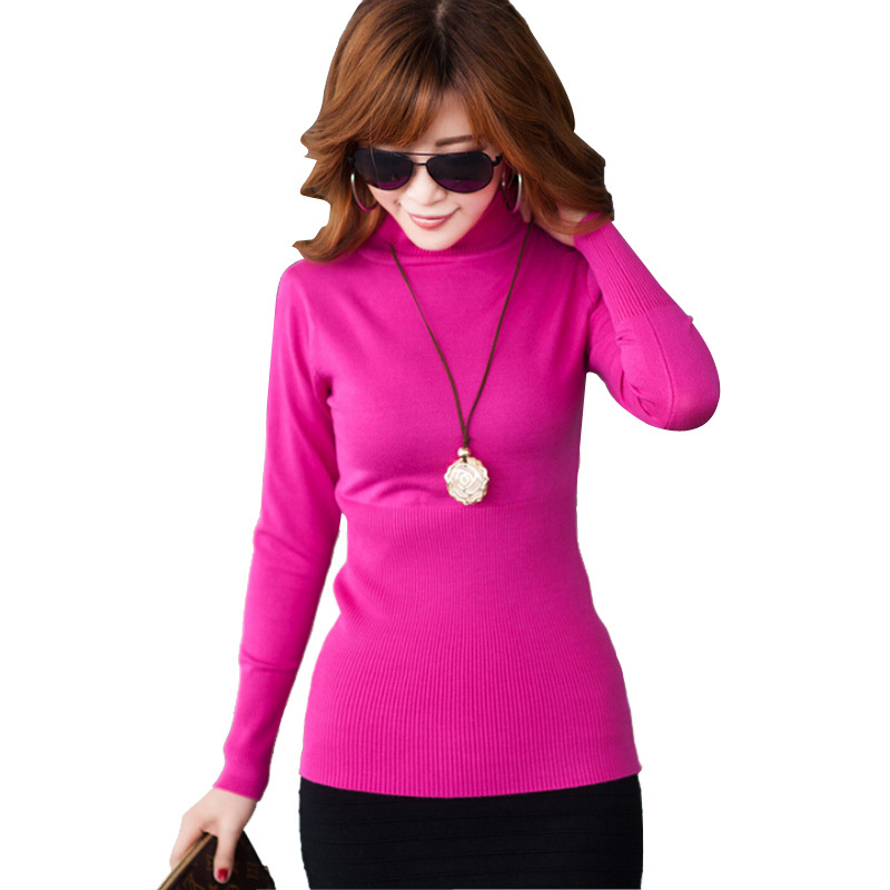 Autumn winter women's Turtleneck Sweaters Candy long sleeve stretchy knit Slim Keep Warm Korean Women's Pullovers . - Fashion TOP Sweater store