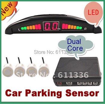 4 parking sensors car rearview radar system, LED Display Indicator Reverse Backup Radar Kit , Free Shipping