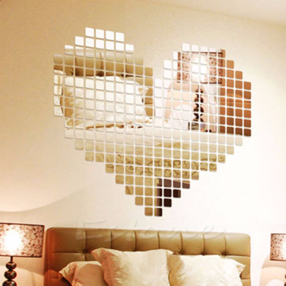 100 Mirror Tile Wall Sticker 3D Decal Mosaic Room Decor