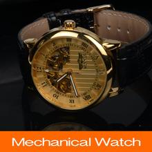 2015 nuevos hombres de moda reloj de pulsera mecánico del cuero genuino impermeable reloj dorado de lujo para hombre reloj Relogio relojes de vestir