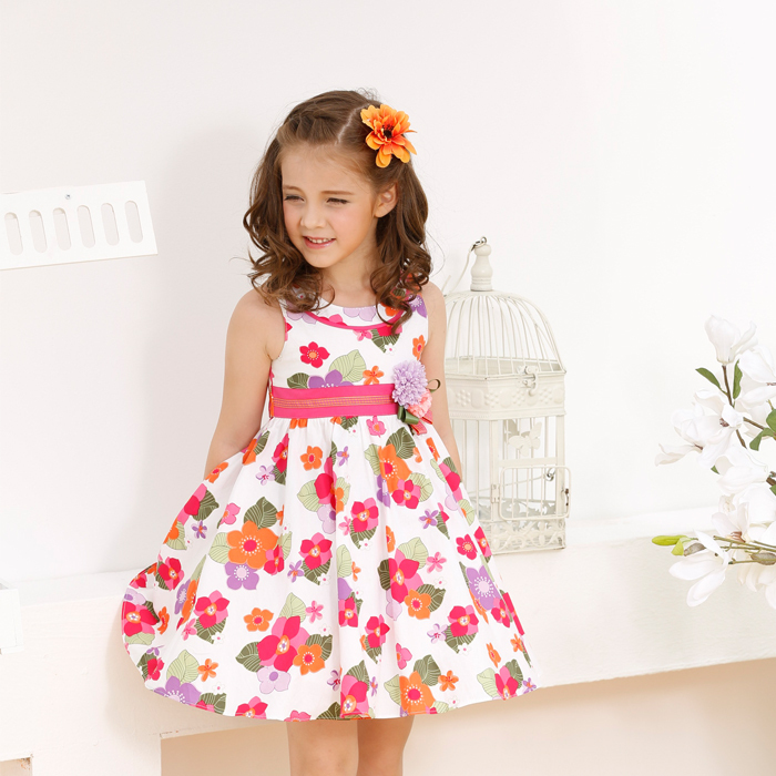 2015 New Fashion cute Summer Floral Printed Cotton Dress, Kid Clothes with Flower(China (Mainland))