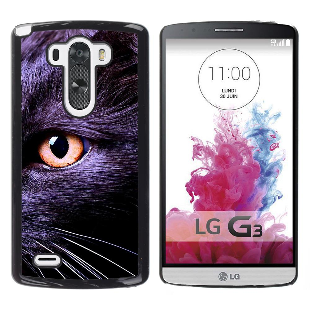 Black Bombay Chartreux Cat Eye Kitten-Snap On Hard PC Back Shell Case For LG G3 D855 D850 D851(G3-3005241)(China (Mainland))