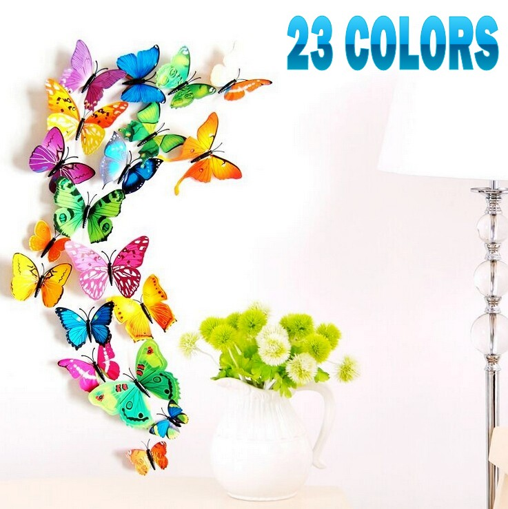 28 color hot sale 12pcs/lot 3D butterfly & flower wall sticker gossip girl fashion home decoration DIY bling fridge magnets(China (Mainland))