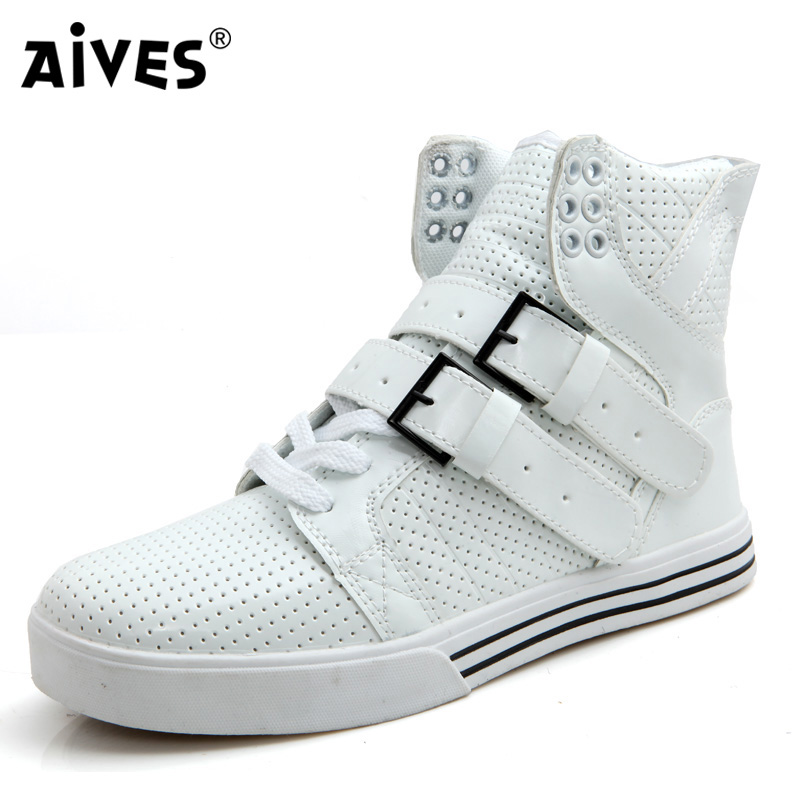 AIVES Fashion PU Leather Men Breathable High Top Sport Boots Casual Flat Shoes Women Flats Shoes Lover's Ankle Boots Size 35-44(China (Mainland))