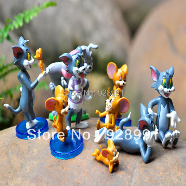 9 Pcs Pop Anime Tom And Jerry Plastic Animal Cat Mouse Dog Toys Pvc Figures Set Kids toy Baby Gift For Boys Girls Children(China (Mainland))