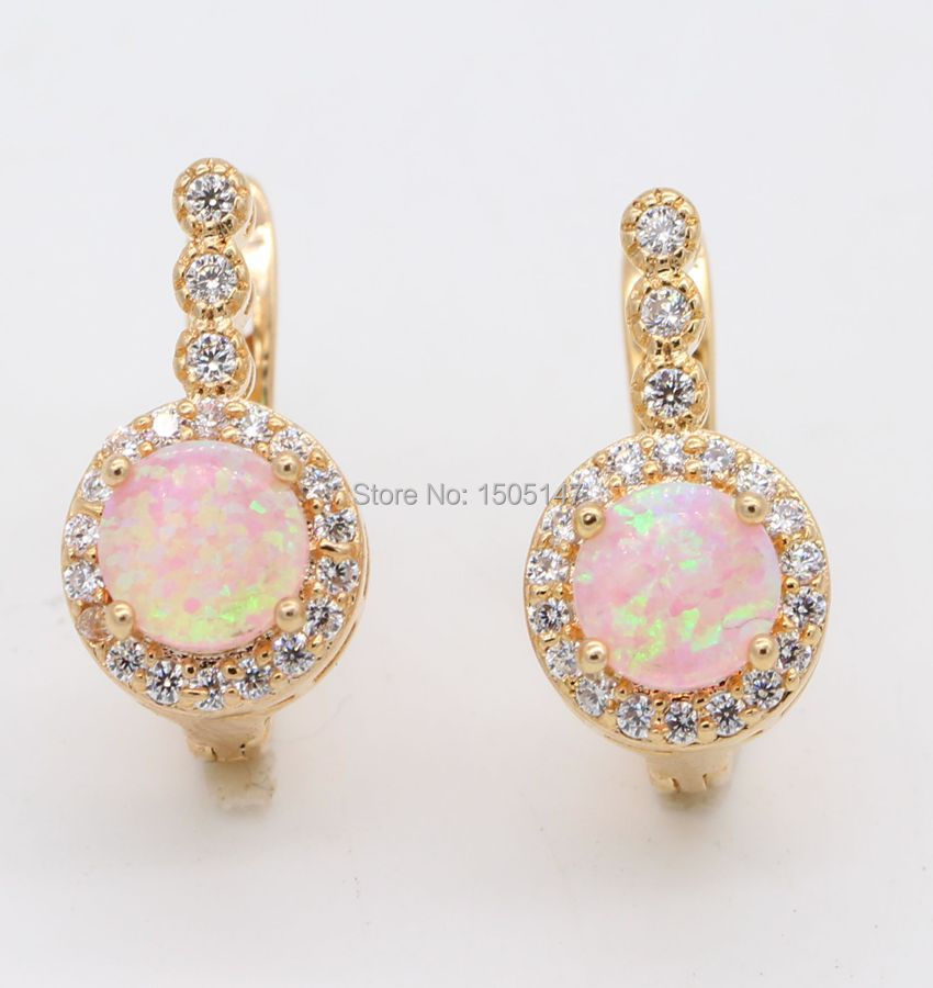 Beautiful Cute Simple Round Pink/Multicolor Fire Opal 925 stamp Earrings 2colors Wholesale(China (Mainland))