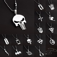 MARVEL SUPER HERO The PUNISHER DARK KNIGHT Stainless Steel Leather Chain Pendant Necklace,66104-66118