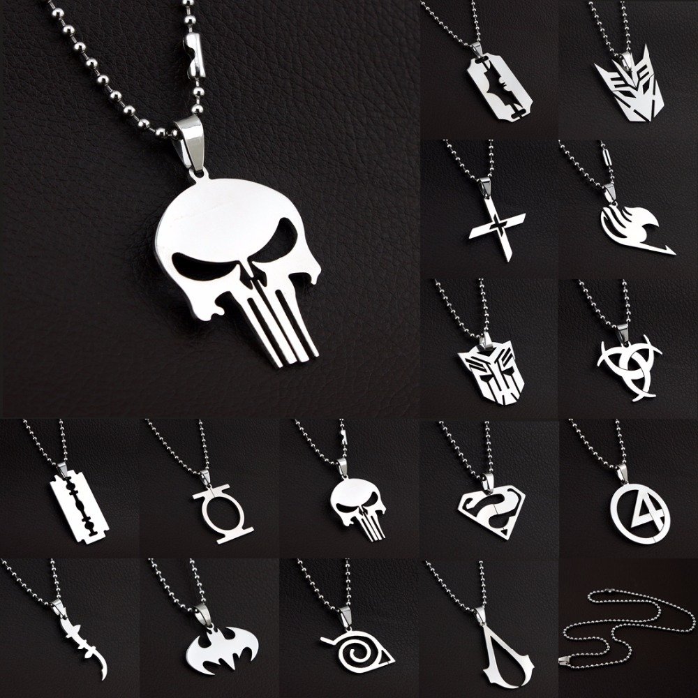 MARVEL SUPER HERO The PUNISHER DARK KNIGHT Stainless Steel Leather Chain Pendant Necklace,66104-66118(China (Mainland))