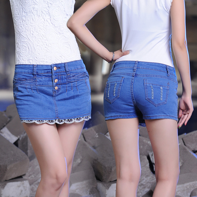 Summer Show Long Legs Fashion Women's Jeans Shorts Skirts Causal Style Denim Mini Lace Divided 335 - Talusi Apparels Co., Ltd store