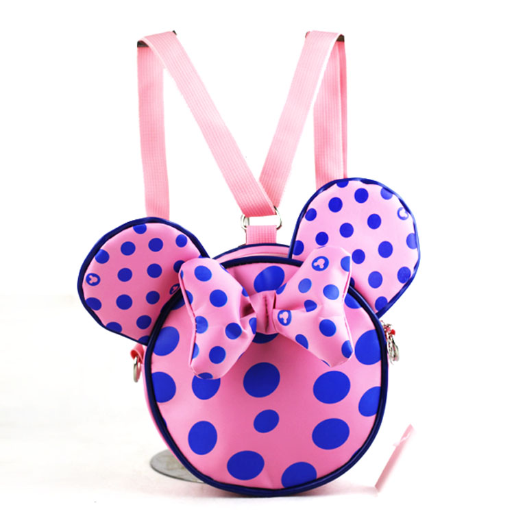 Miki Messenger Girls Boys Bag 3D Pattern Dot Print Miki Mouse KidsCartoon Mouse Cute Bow Bag Children Student Spring Autumn(China (Mainland))