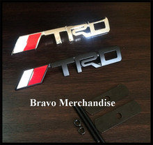 automobile decoration styling car front hood grill grille badge with TRD logo emblem mark silver/black