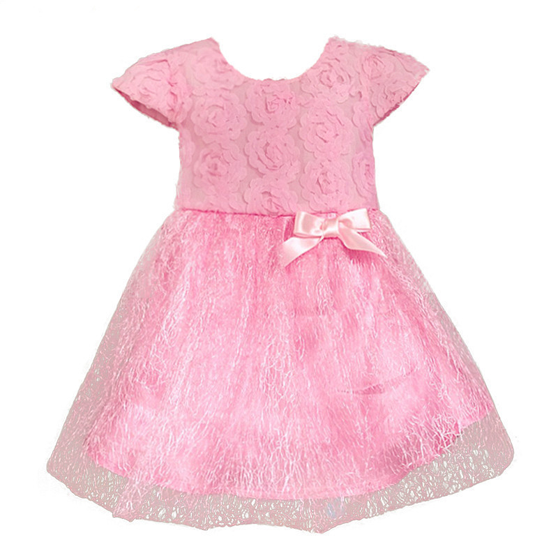 Retail - 2015 Summer bow birthday party Baby clothes, ball gown children kids tutu girls dress baby dress baby girl clothes pink(China (Mainland))
