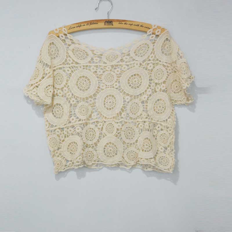 Hot New Bohemian Vintage Boat Neck Dot Crochet Lace Hollow Out Solid Casual Women Mini Tops Blouses Beige(China (Mainland))