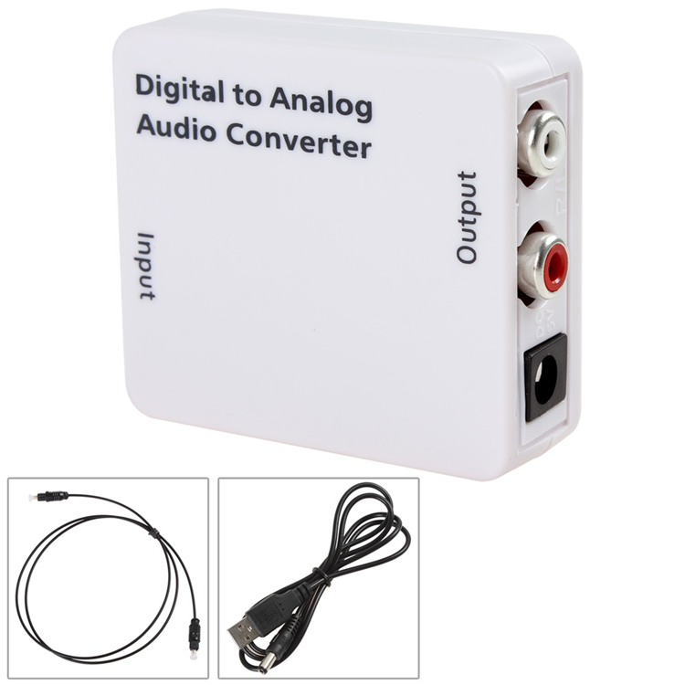 Sale White Mini Digital Optical Coaxial RCA / Toslink Signal to Analog Audio Converter Adapter with Power & Fiber Optical Cable(China (Mainland))