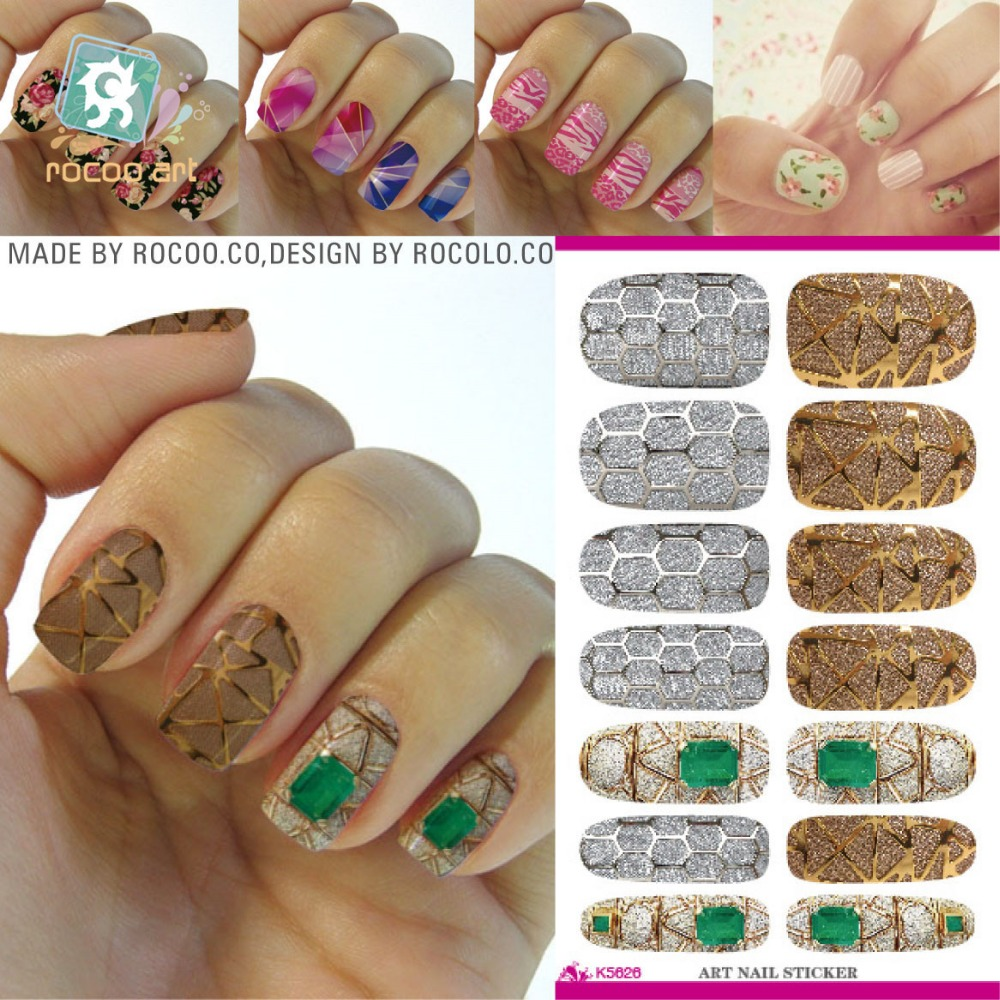 2016 Fashion Nail Art Stickers Golden Jewel Fantasy Decals For DIY Water Transfer Nail Sticker Minx Manicure Decal Tools K5626(China (Mainland))