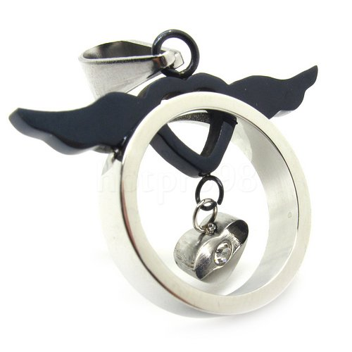 guaranteed 100%  wholesale retail new unisex silver angle wing ring love pendant necklace stainless steel  chain free shipping