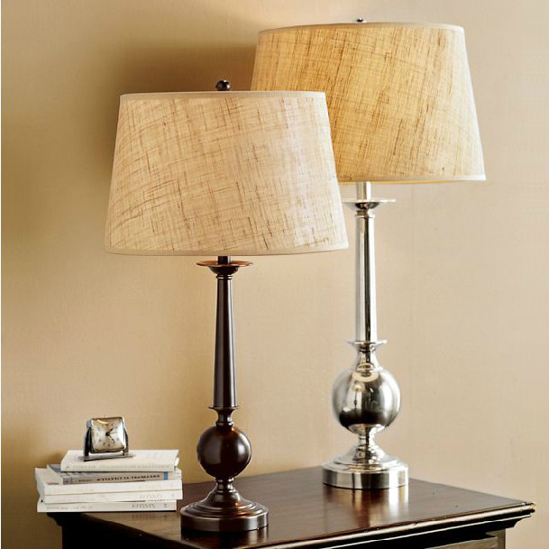 American retro matte black linen fabric shade table lamp - Black table lamps for living room ...
