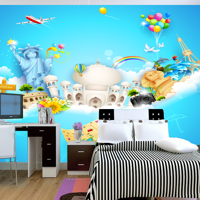 A large children 39 s room mural wallpaper kids real eco for Children s mural wallpaper