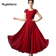 Buy Ryseleco 2017 Women European Summer style Chiffon Short Sleeve Long Party Dresses Female Elegant Floor Length White Lace Vestido for $56.66 in AliExpress store