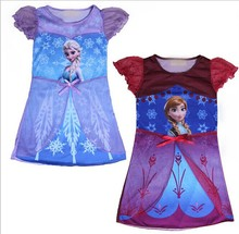 Children frozen Pajamas Girl princess Nightgown Dress Chemise De Nuit Enfant Puff Sleeve Nightgown Summer Elsa Anna Sleepwear(China (Mainland))