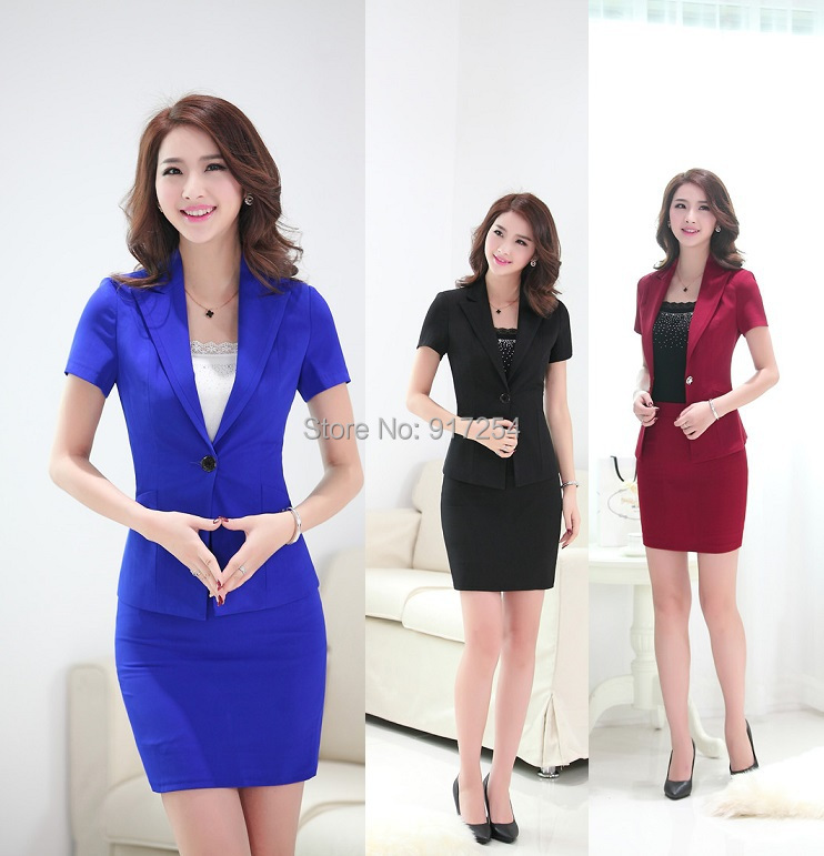 New 2015 Spring Summer Formal Blue Uniform Style Fashion Women Suits with Skirt and Blazer Ladies