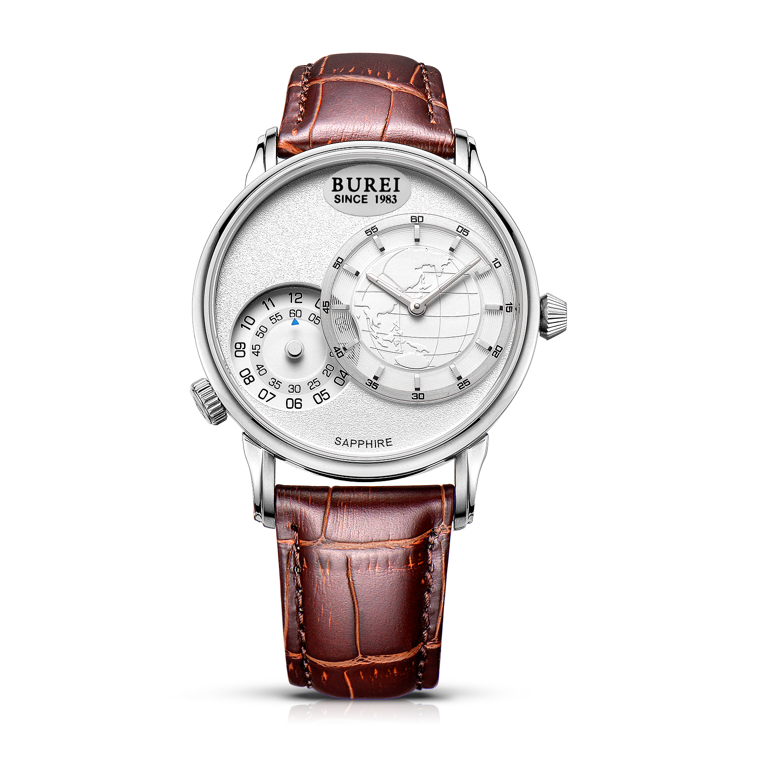 BUREI 5009 Switzerland watches men luxury brand Men's Dual Time Travel Business Casual Watches White Dial Brown Leather Strap(China (Mainland))