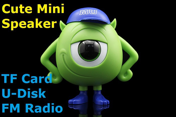 Free Shipping Monsters Mini Speaker w/ FM U-Disk TF Card MP3 Player for Cellphones Tablet PC Mini Monsters Speaker(China (Mainland))