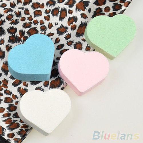 4x coração pó suave maquiagem esponja Blender Puff Flawless beleza fundação 1WLJ