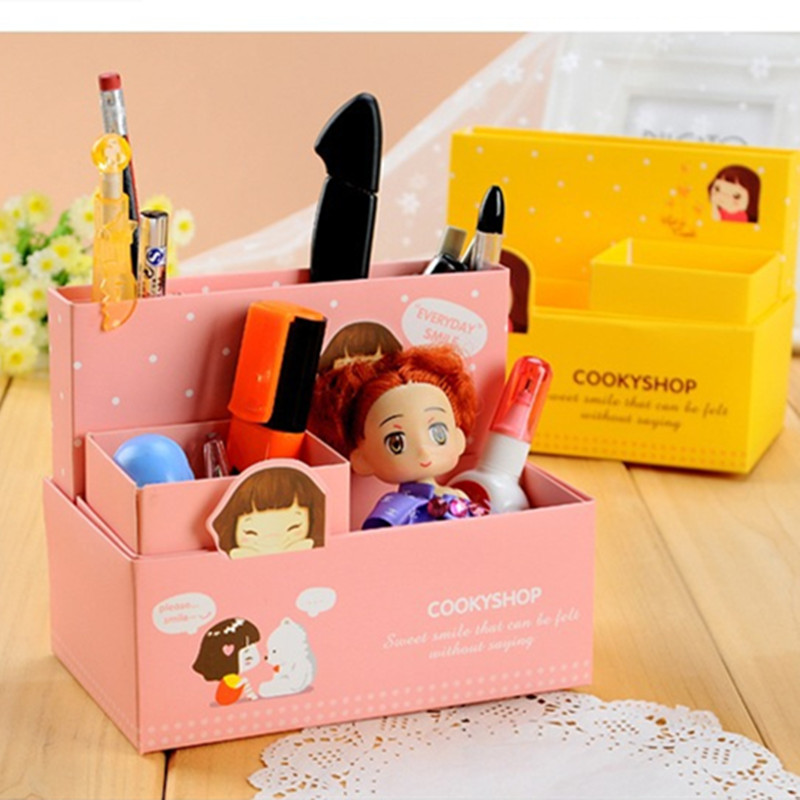 Kawaii Diy Paper Storage Box Girl Desk Makeup Organizer Office School Stationery Storage Boxes Jewelry Sundries Caixa Organizers(China (Mainland))