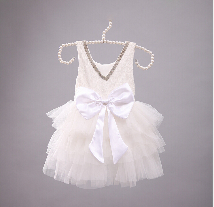 New Baby Girls Fairy White Bow Tutu Dresses, Princess Kids Cute Party Dance Clothing 5 pcs/lot,Wholesale(China (Mainland))