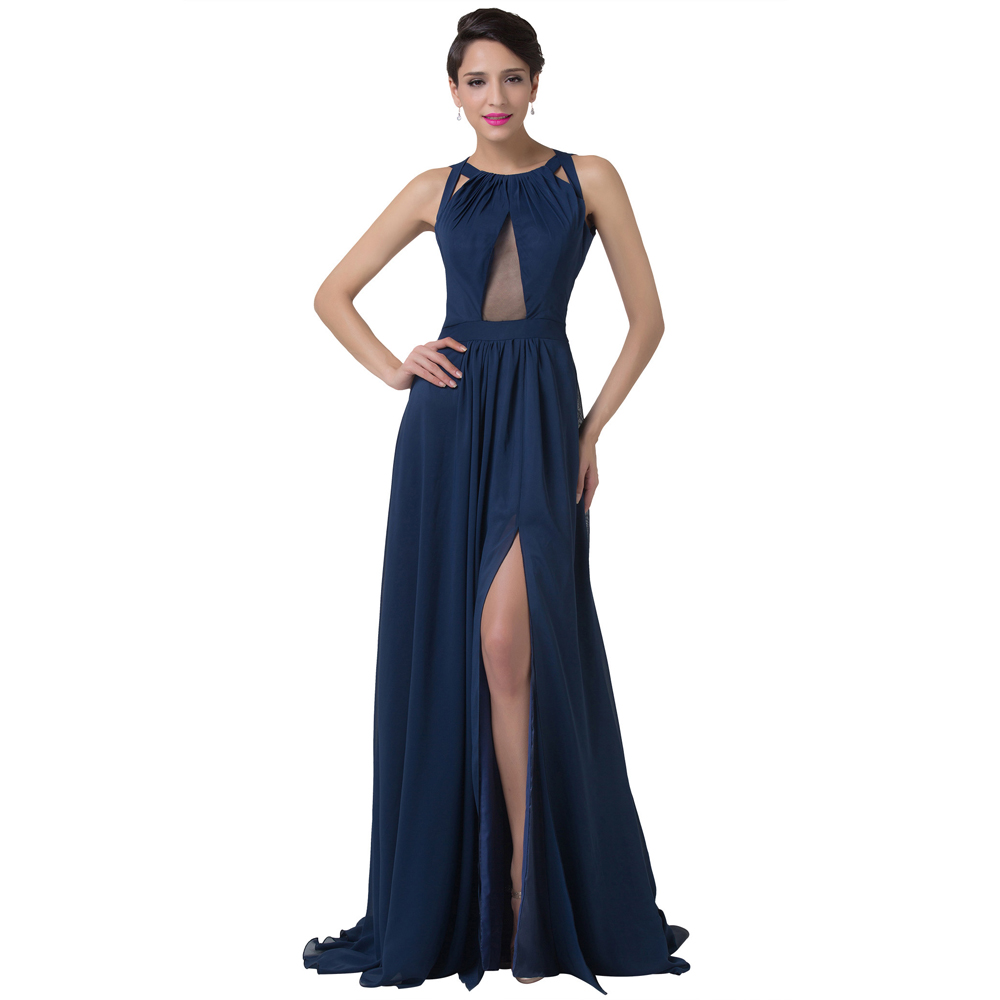 Drop shipping women elegant formal split evening dresses for Navy evening dresses for weddings