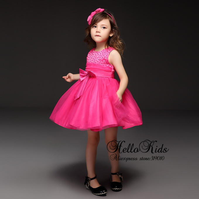 2016 Newest Girls Party Dress Polyester Toddle Summer Red Sequin Bead Big Bow Children Wear Infant Fashion Clothing - Lucy Lea's store