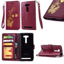 Luxury Gold Colour Butterfly Wallet PU Leather Flip Cover Case For Asus Zefone 2 Laser 5.0 ZE500KL / 5.5 ZE550KL Case phone bag
