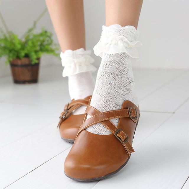 Японский каваи женщины белое кружево носки милые дамы принцесса оборками носок с ретро лолита с оборками носки милые